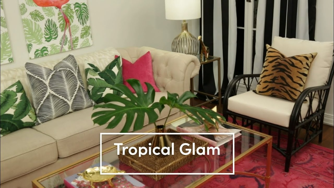 A Tropical Glam Living Room Youtube