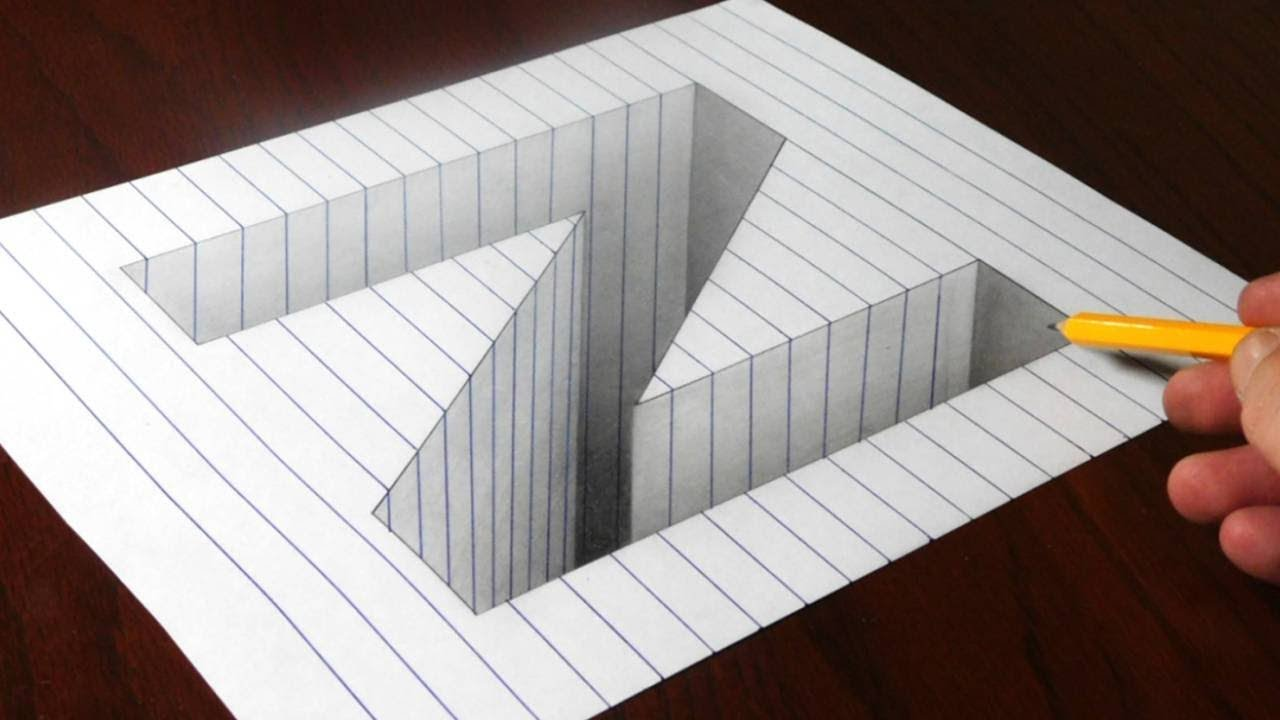 how to draw 3d hole on paper step by step