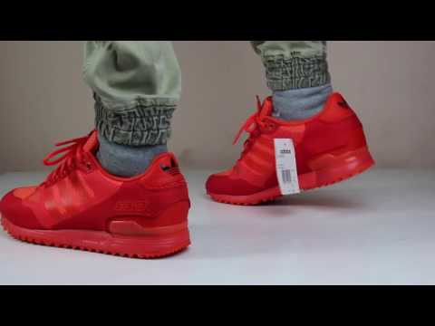 super popular 7dd1a 89892 ADIDAS ORIGINAL ZX 750 WOVEN  SOLAR RED  FULL 360 VIEW ON FEET - YouTube