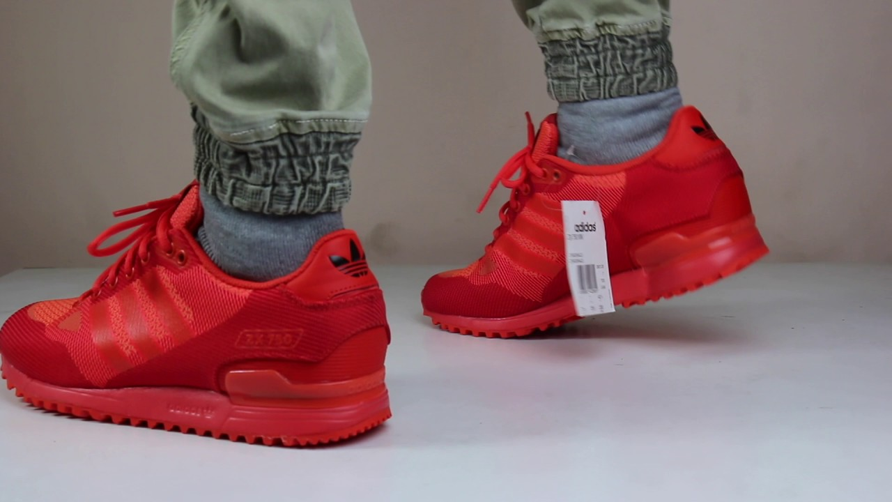 outlet store 06053 a2994 ADIDAS ORIGINAL ZX 750 WOVEN 'SOLAR RED' FULL 360 VIEW ON FEET