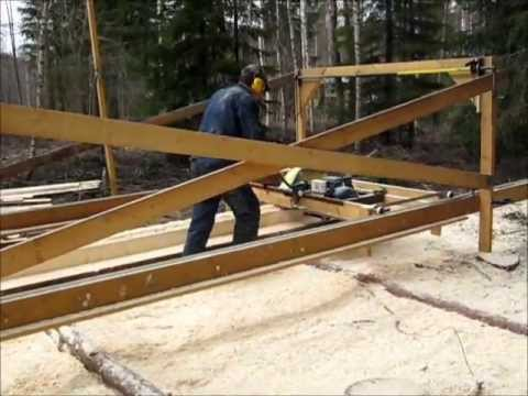 Homemade swingblade sawmill in Sweden