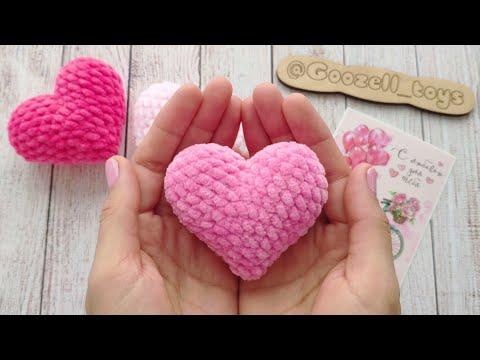 Схема вязания крючком объемного сердца
