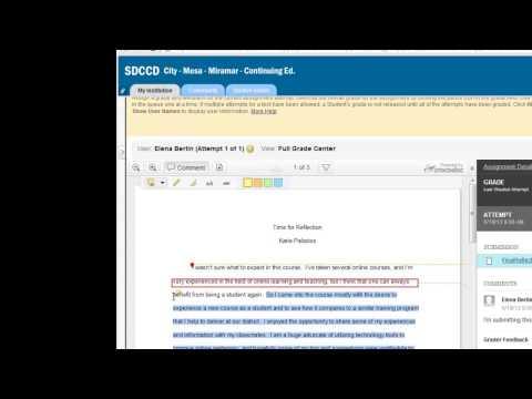 Grading a Blackboard Assignment (Inline Grading)