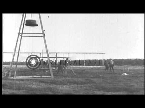 Newspaper headlines Wilbur Wright sustained demonstration flight in France. HD Stock Footage