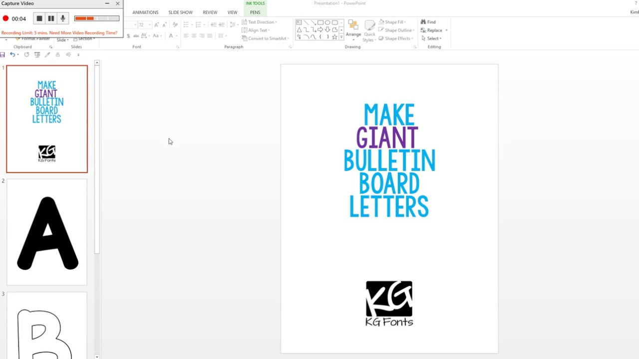 Giant Bulletin Board Letters Font Tutorial: KG Fonts