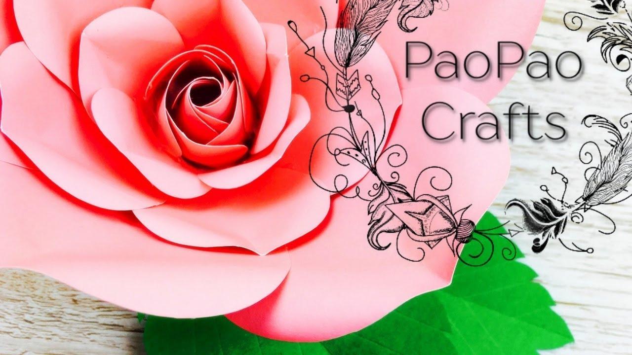rosa de papel como hacer rosa de papel flores gigantes moldes gratis large paper rose - Como Hacer Rosas De Papel