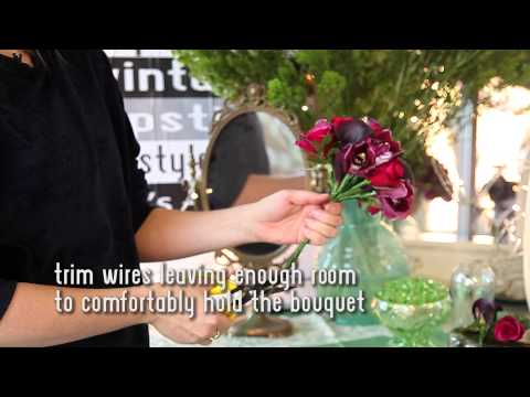 Winter Wired Bridal Posy Bouquet Construction