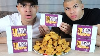 100 CHICKEN NUGGETS IN 10 MINUTEN CHALLENGE !!! | PrankBrosTV