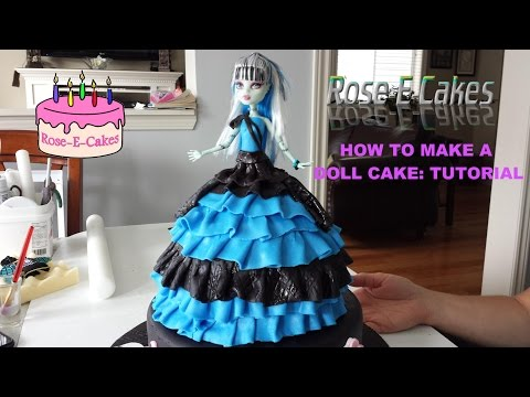 How To Make A Monster High Doll Cake - Frozen Princess Or Barbie Cake - Part 1