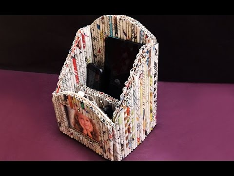 Making DIY Newspaper Mobile Stand/ Pen Holder with Photo Frame | Newspaper Crafts | StylEnrich