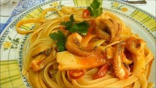 Как приготовить макароны с томатным соусом и каракатицы Паста Италии