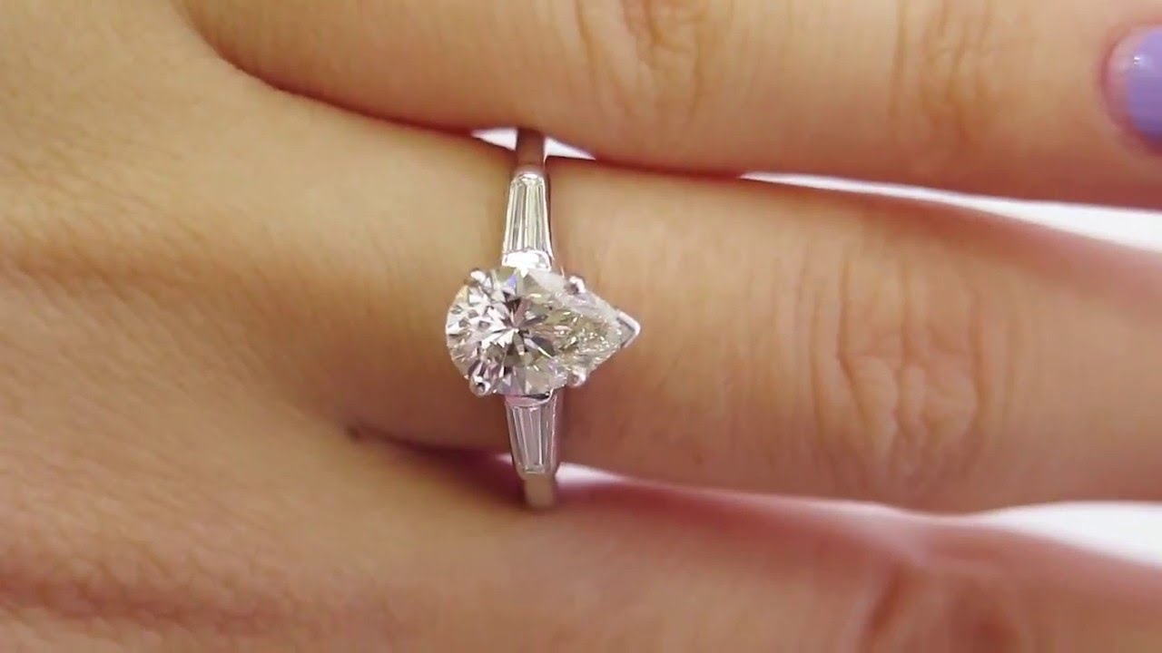 Pear Diamond Ring With Baguettes
