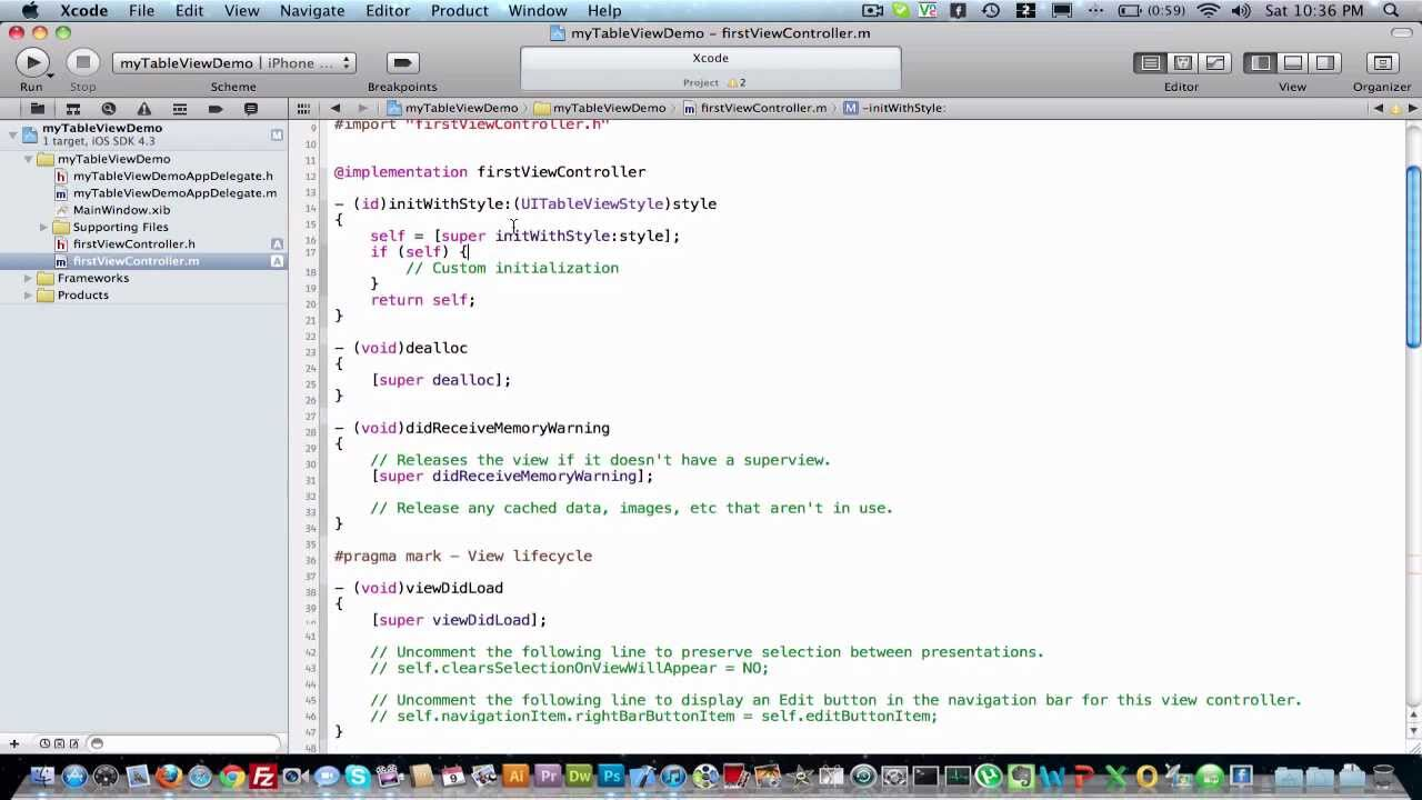 Ui table view controller demo ios xcode iphone youtube for Xcode 6 tableview