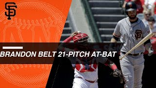 Brandon Belt battles through 21-pitch AB vs. Barria