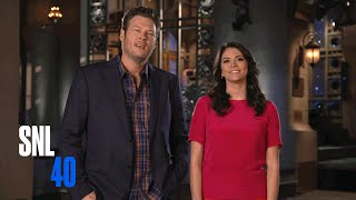 blake shelton and cecily strong taunt adam levine saturday night live