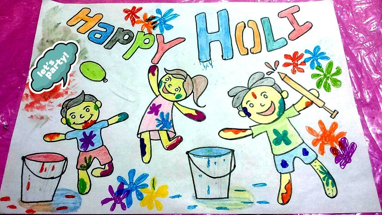 Holi Festival Drawing For Kids How To Draw Holi Drawing For Kids