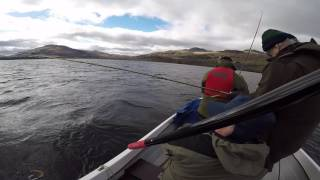 Loch Tay trolling for salmon 2017 (April) out with guest for loch tay fishing trips 14lb returned