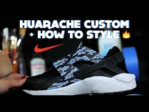designer fashion e434b 2103d DIY Nike Huarache Custom   How To Paint Tiger Camo Tutorial + Lookbook  Style How To Wear