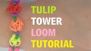 TULIP TOWER Loom Bracelet Tutorial Rainbow Loom l JasmineStarler