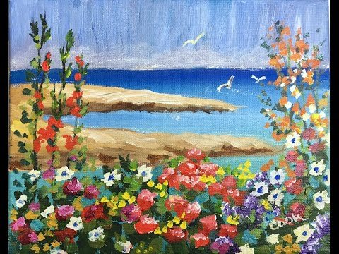 How To Paint Flowers By The Bay Free Beginner Acrylic Painting Tutorial By Ginger Cook