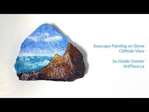 Painting a Seascape on Escarpment stone - Cliffside View