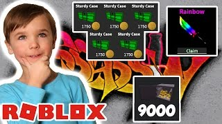 CRAFTING RAINBOW KNIVE & OPENING STURDY CASES PARA 9000 TOKENS en ROBLOX ASSASSIN !!!