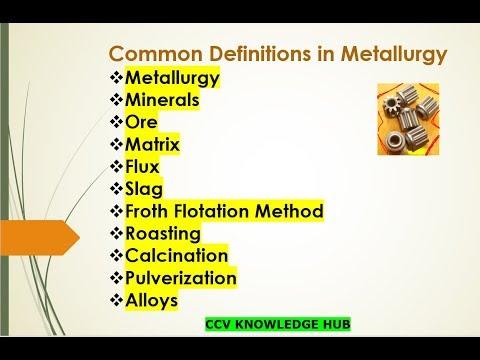 Chemistry Metallurgy-2(Common Definitions In Metallurgy)