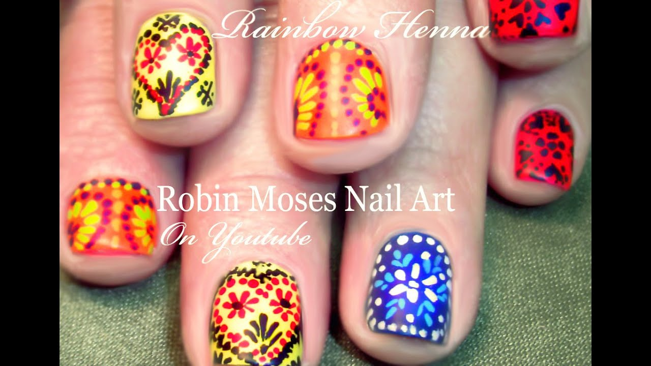 Rainbow Henna Nails Tutorial Easy Short Nail Art Design For