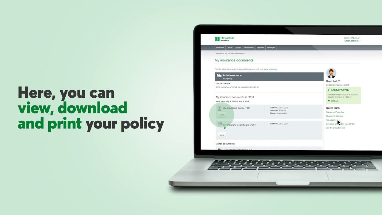 Desjardins Auto Insurance >> View Download And Print Your Insurance Documents Anytime Youtube