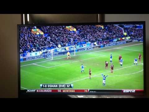 Leon Osman Wonder Goal Vs. Manchester City EPL (3/16/2013)