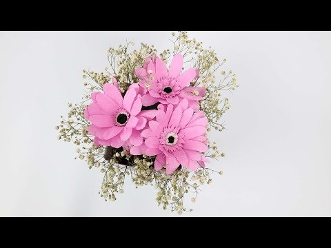 DIY Gerbera Paper Flowers | Crepe Paper Gerbera Flower Tutorial | How To Make Gerbera Paper Flowers