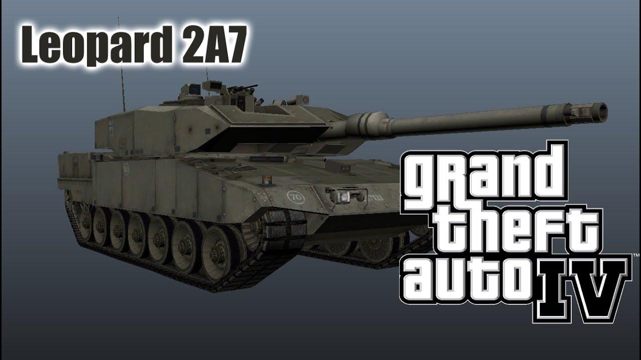 GTA IV Leopard 2A7 Tank model + Tank V Style script mod