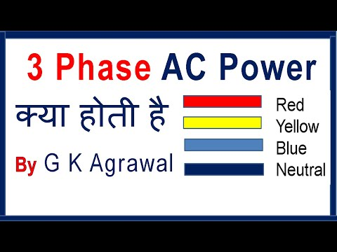 3 Phase & 1 phase AC power supply concept, in Hindi