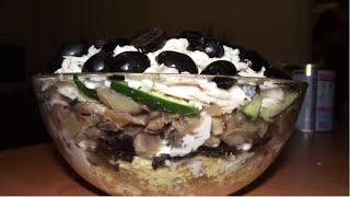 Ну оОчень вкусный праздничный салат Обжора(Салаты на праздничный стол в обязательном порядке готовит каждая хозяйка и хозяин. Список ингредиентов..., 2016-01-07T00:02:09.000Z)