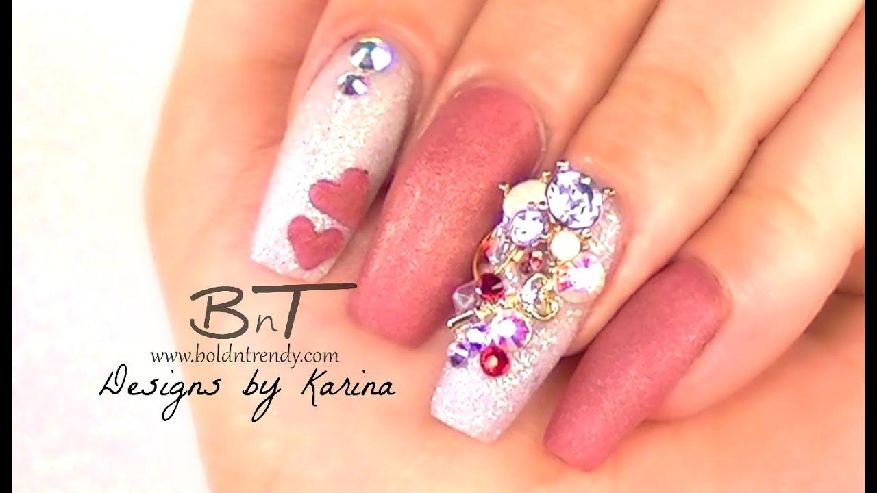 San Valentin Nail Design Uñas Acrilicas E058