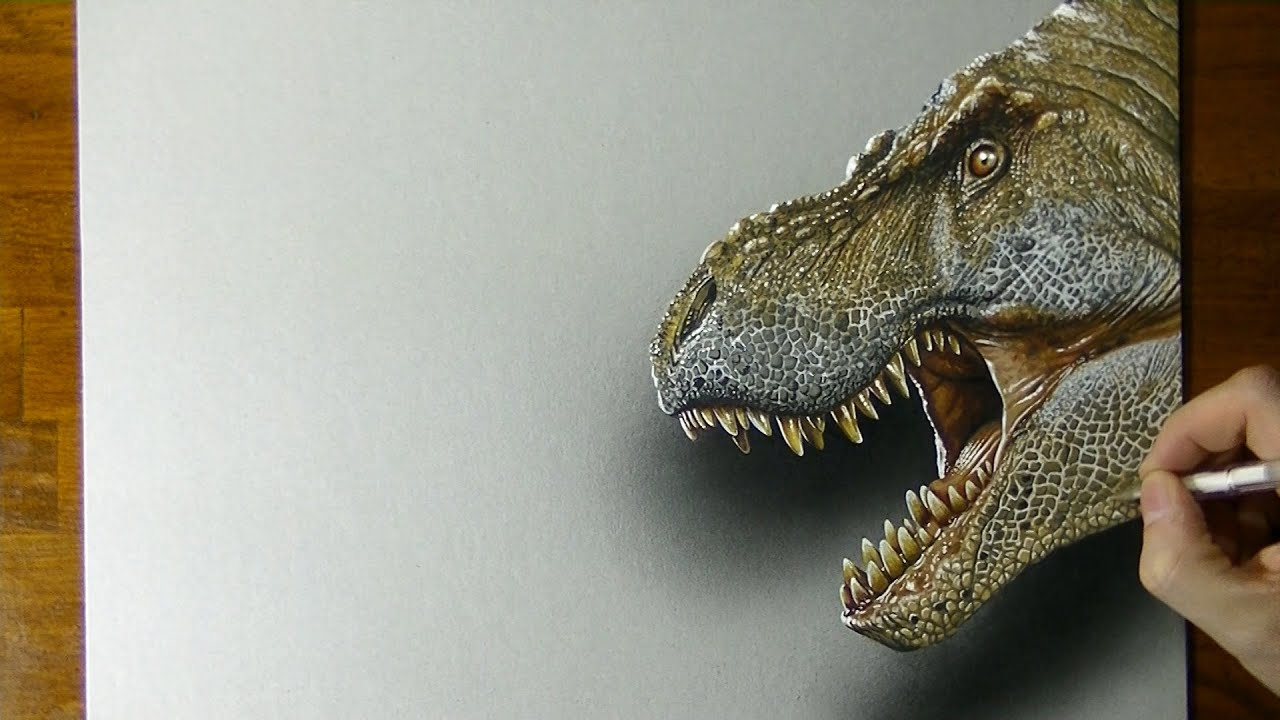 scary t rex drawing 3d art youtube
