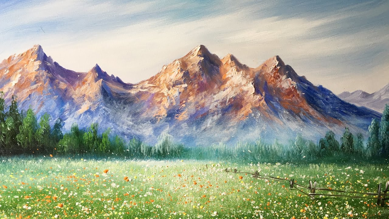 paint mountains with acrylic paints lesson 2 youtube
