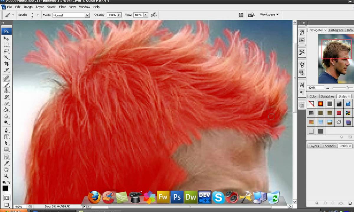 Photoshop Tutorial How To Change Hair Color In Photoshop Cs3 And