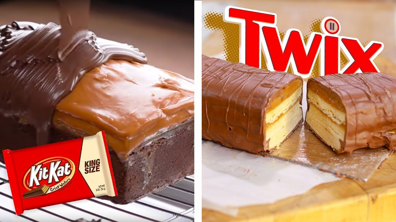 DIY Giant Twix Candy Bar & KitKat Chocolate Bar Bites!!   Dessert Recipes and Food Hacks by So Y