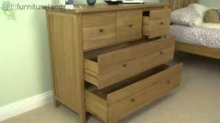 Chaucer Solid Oak Wide Chest of Drawers From Oak Furniture Land