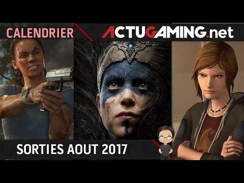 Calendrier : Les sorties jeux vidéo Août 2017