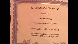 Xi Zhou received Academic Award in World Cultures for 2015-2016 school year