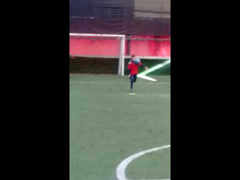 A really talented albanian 8 year old kid  playing football