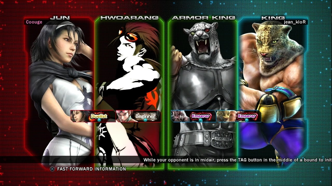 445 Tekken Tag Tournament 2 Coouge Jun Hwoarang Vs Jean Klor