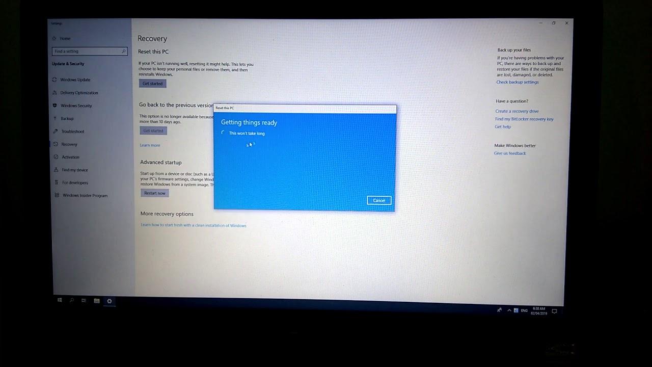 Cách reset Windows 10, khôi phục lại Win 10 không mất dữ liệu