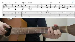 In My Life (The Beatles) - Easy Fingerstyle Guitar Playthrough Tutorial Lesson With Tabs