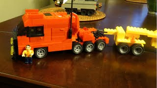 LEGO Custom Truck MOC Heavy Lift Tractor, Full Interior, Lowboy Trailer, Heavy Equipment Hauler