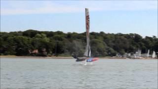 whisper foiling catamaran light wind test 2