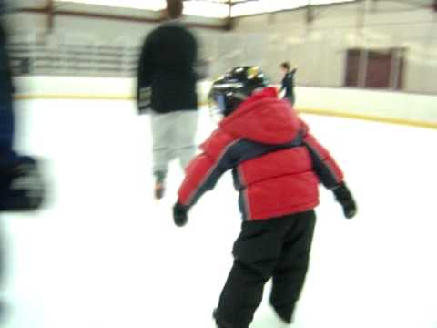 George MacKinnon #2 ice skating pushing off with both feet in hockey skates 4years 5 months 12/2010