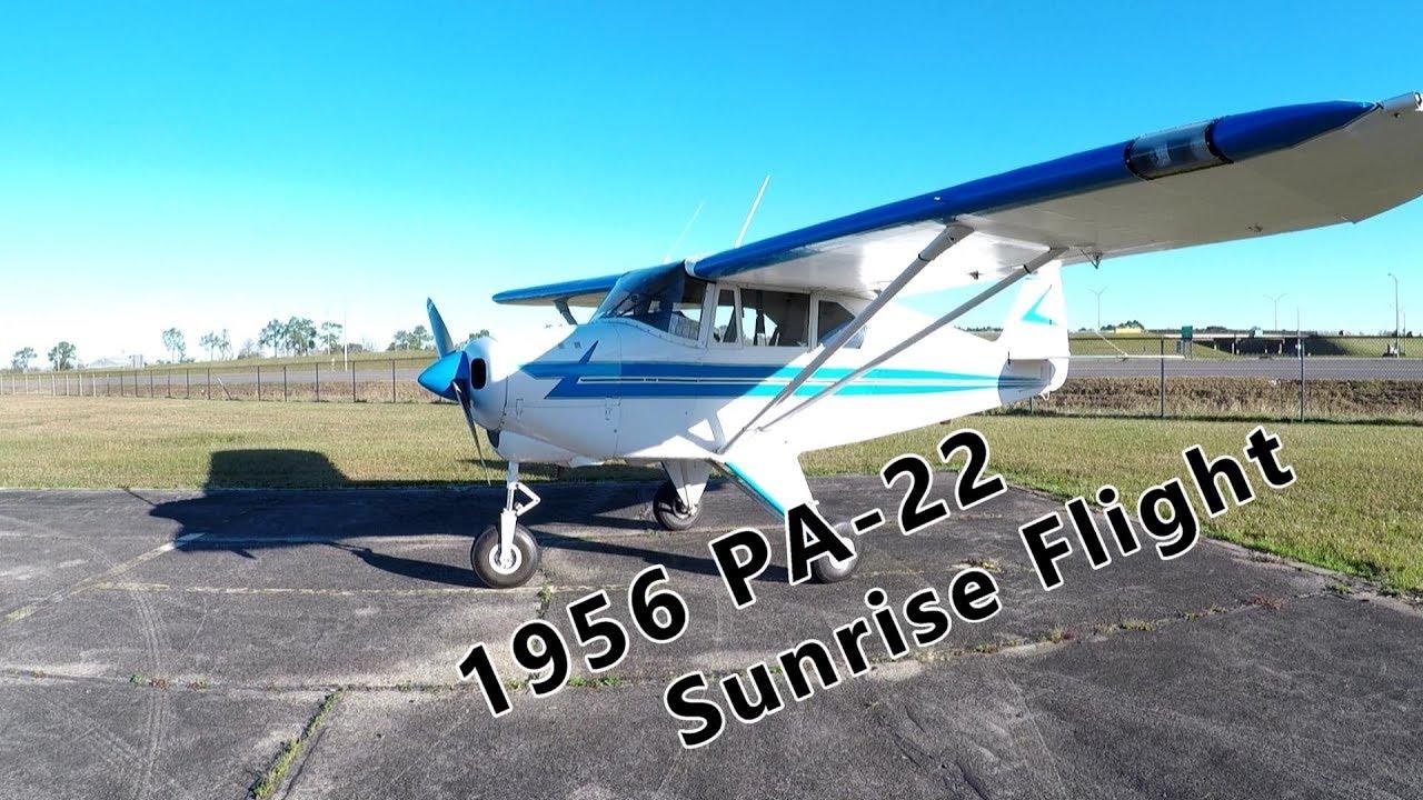 1956 Piper PA-22 Tri-pacer Sunrise Flight to Breakfast